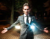 Guy walking night after meeting business — Stock Photo