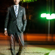 Guy walking night after meeting business — Stock Photo #13266810