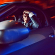 Beauty stylish guy in  car . — Stock Photo