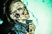 Kadın renk yüz sanat — Stok fotoğraf