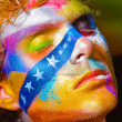 Color face art men make-up — Stock Photo