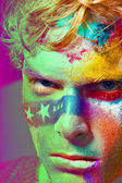 Color face art men — Stock Photo