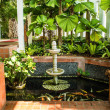 Ornamental pond with fish in the building - Stock Photo