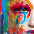 Stock Photo: Color face art womclose up portrait