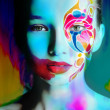 Color face art woman face extra bright — Stock Photo