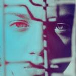 Fashion model woman in prison portrait — Stock Photo #30817349