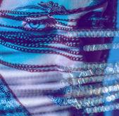 Reflection lights half woman face close up portrait blue gamma — Stock Photo