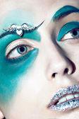 Color face art woman close up portrait — Stock Photo