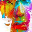 Color face art close up portrait — Stock Photo #31058133