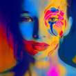 Stockfoto: Color face art womface extrbright