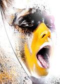 Close-up portrait fashion clown — Stock Photo
