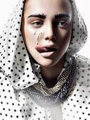 Fashion women face whith professional makeup milk drop — Stock Photo