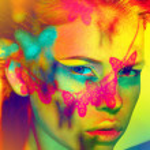 Woman color face art — Stock Photo
