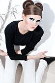 Face women panda beast professional make-up — Stock Photo