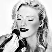 Smilling Blond girl face on white — Stock Photo