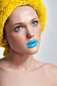 Make-up cosmetics Closeup portrait of beautiful woman — Stock Photo