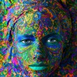 Color face art woman close up portrait — Stock Photo