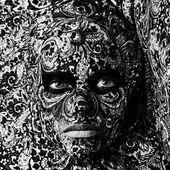 Circus face art woman close up portrait — Photo