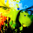 Girl's face from paint — Stock Photo