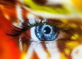 Женский цвет лица искусства красоты макро портрет — Стоковое фото