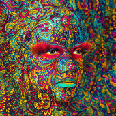 Circus color face art woman close up portrait — Stock Photo