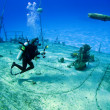 Underwater Photographer shooting a sunken Shipwreck - Stock Photo