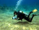 Underwater Videographer — Stock Photo