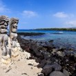 Stock Photo: Wide Angle Tikis at Place of Refuge