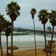 Stock Photo: SClemente Pier during big swell