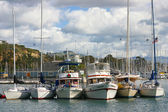 Boats Tied together in a Harbor — Stock Photo