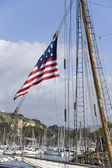 American Flag on passing Ship in Dana Point — Stok fotoğraf