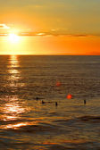 Sunset Surfers in the Line up. — Stock Photo