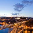 Stock Photo: Dom Luis Bridge illuminated at night. Oporto, Portugal western E