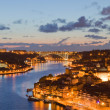 Panorama old city Porto at river Duoro,with Port transporting bo — Stock Photo #12926712