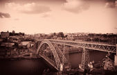 Vintage ansichtkaart van stad Porto en dom luis ik brug, noorden van — Stockfoto