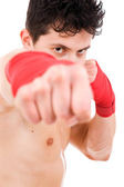 Young MMA fighter close up portrait, isolated on white — Stock Photo