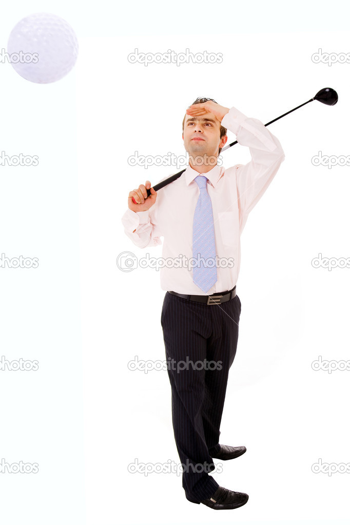 A handsome young business man golfing over white  — Stock Photo #12936532