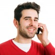 Handsome man portrait talking at the cell phone isolated on whit — Stock Photo