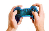 Video game controller in hand isolated on white background — Stock Photo
