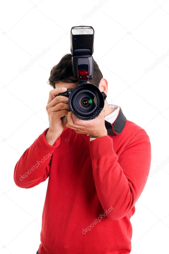 Professional photographer with camera on white background  — Stock Photo #12942214
