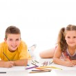 Two children drawing, isolated on white — Stock Photo #13648460