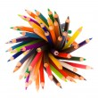 Stack of colored pencils on white background — Stock Photo