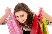 Krásná nákupní žena šťastná, drží nákupní tašky. — Stock fotografie