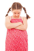 Angry little girl isolated over white background — Stock Photo