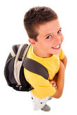School boy with backpack, isolated on white — Stock Photo