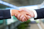 Businessman and businesswoman shaking hands at the office — Stock Photo