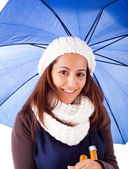 Beautiful young woman dressed with winter clothes, isolated on white — Stock Photo