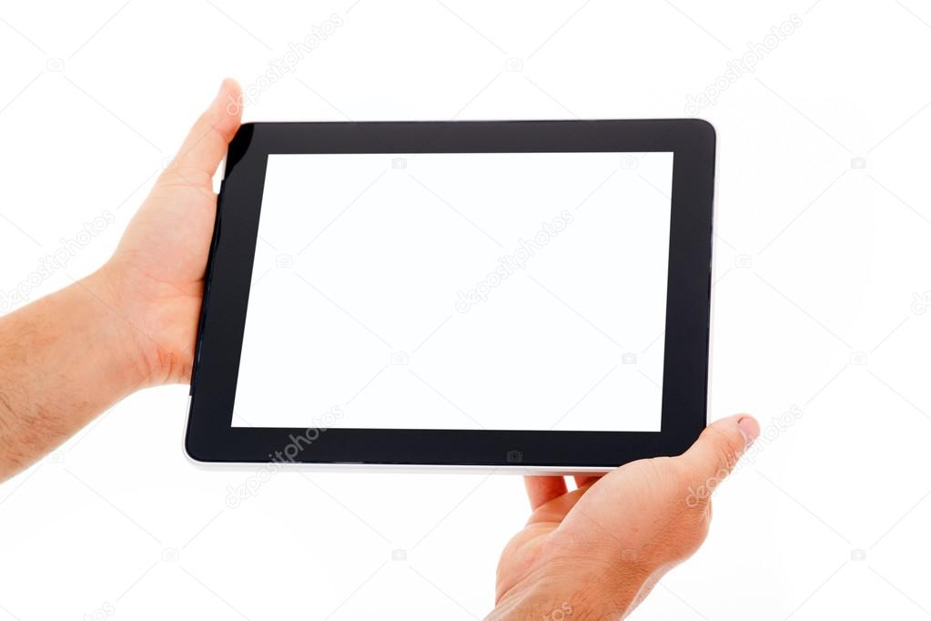 Hands holding tablet computer. Isolated on white background.  — Stock Photo #13649204