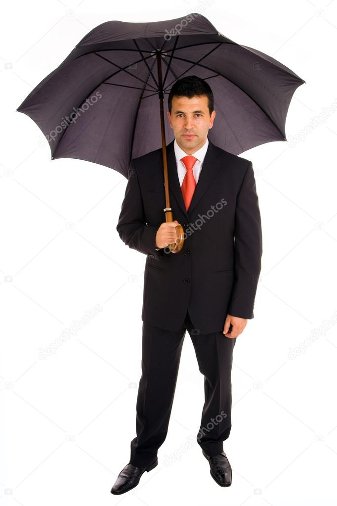 Full body of young business man with umbrella on white background  Stock Photo #13649280
