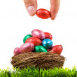 Colorful Easter eggs in nest on fresh grass, isolated on white - Stock Photo